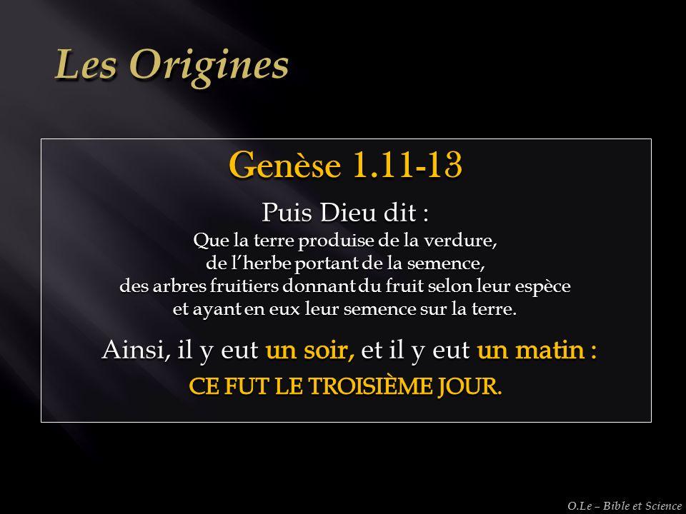 Les Origines Genèse 1.11-13 Puis Dieu dit :