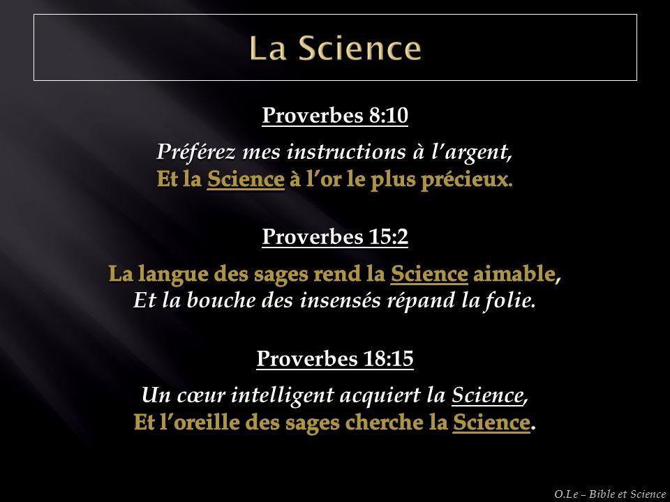 La Science Proverbes 8:10 Préférez mes instructions à l'argent,