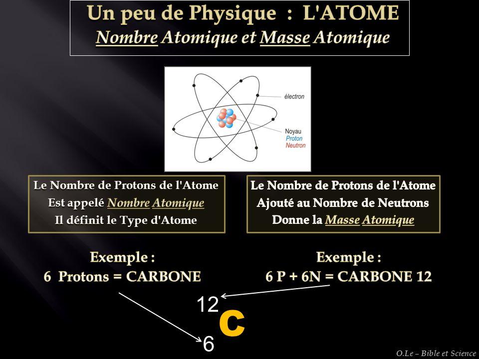 C 12 6 Un peu de Physique : L ATOME Nombre Atomique et Masse Atomique
