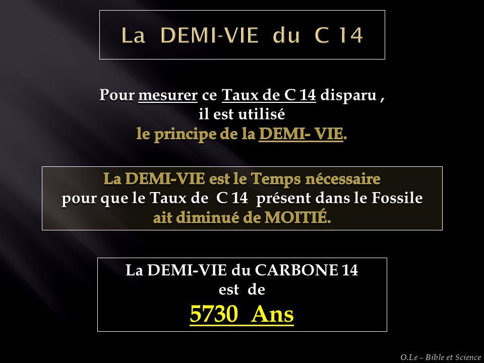 5730 Ans La DEMI-VIE du C 14 Pour mesurer ce Taux de C 14 disparu ,