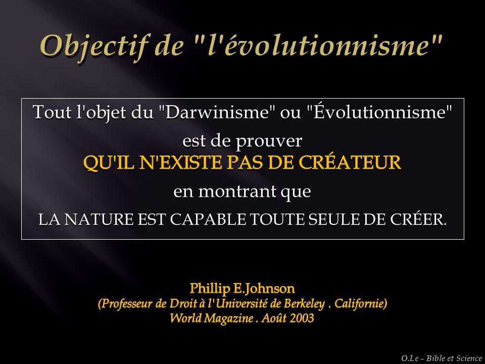 Objectif de l évolutionnisme