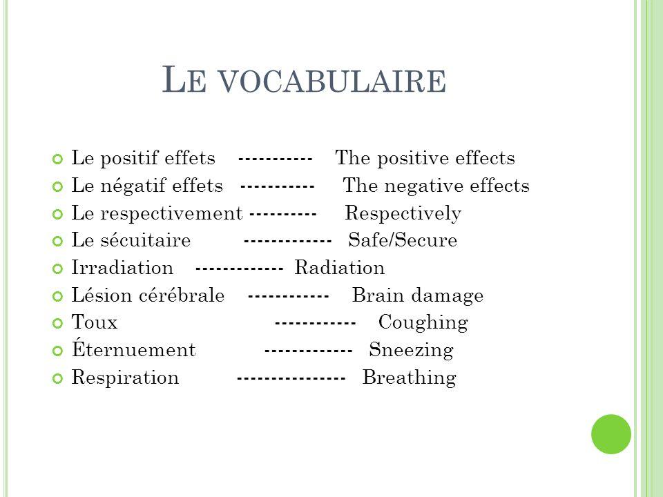 Le vocabulaire Le positif effets ----------- The positive effects