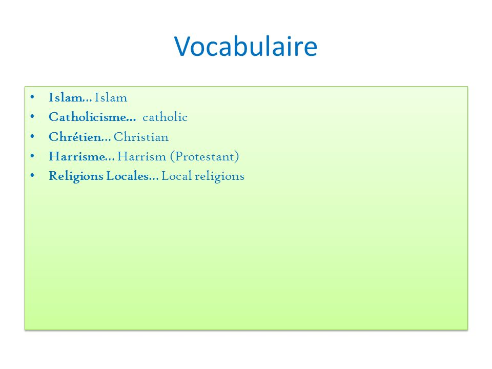 Vocabulaire Islam… Islam Catholicisme… catholic Chrétien… Christian