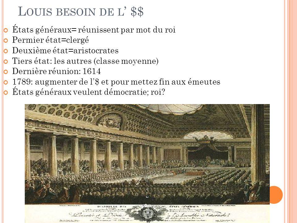 Louis besoin de l' $$ États généraux= réunissent par mot du roi