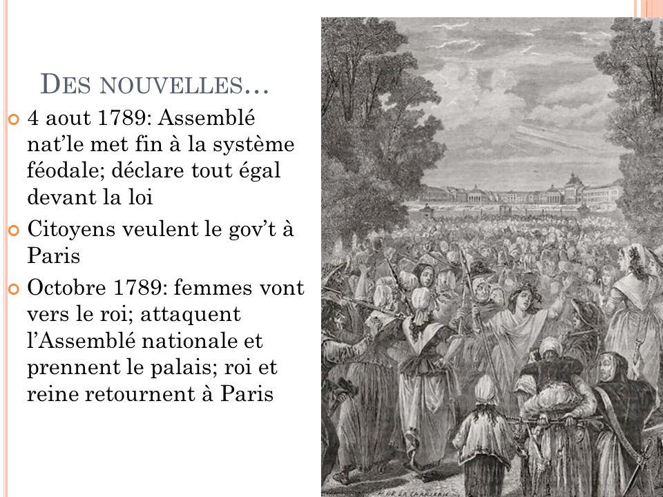 Des nouvelles… 4 aout 1789: Assemblé nat'le met fin à la système féodale; déclare tout égal devant la loi.