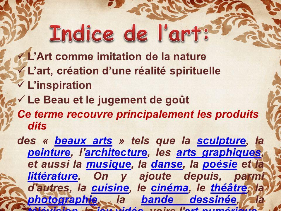 Indice de l'art: L'Art comme imitation de la nature