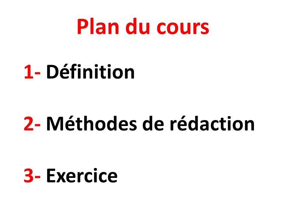 1- Définition 2- Méthodes de rédaction 3- Exercice