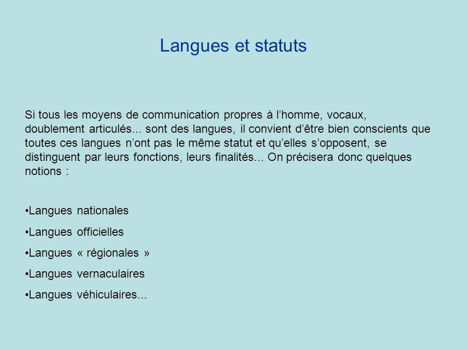 Langues et statuts