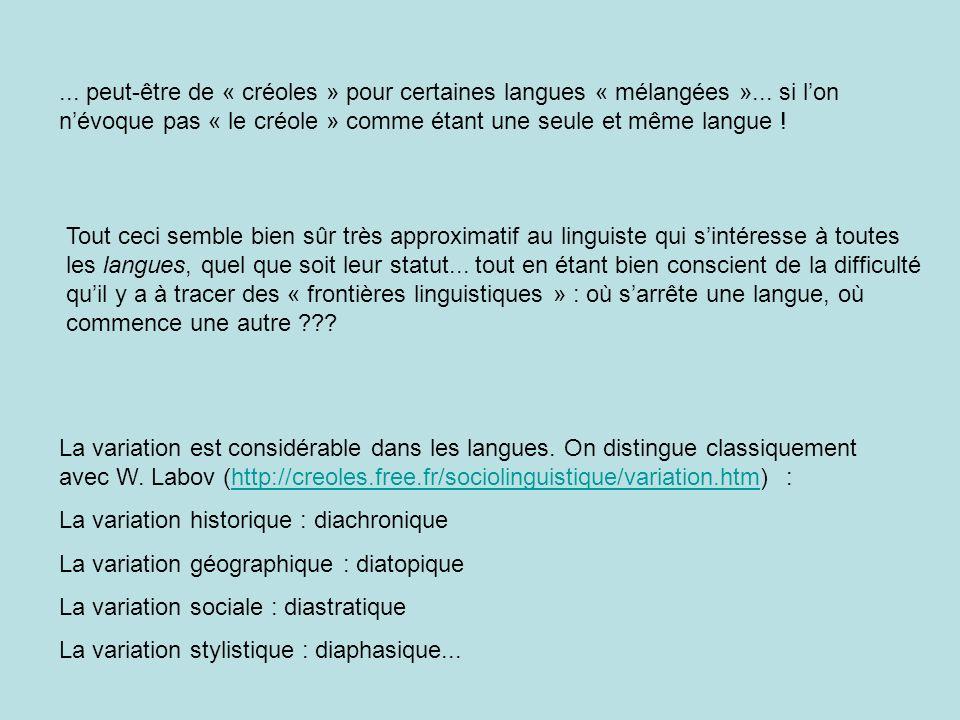 peut-être de « créoles » pour certaines langues « mélangées »