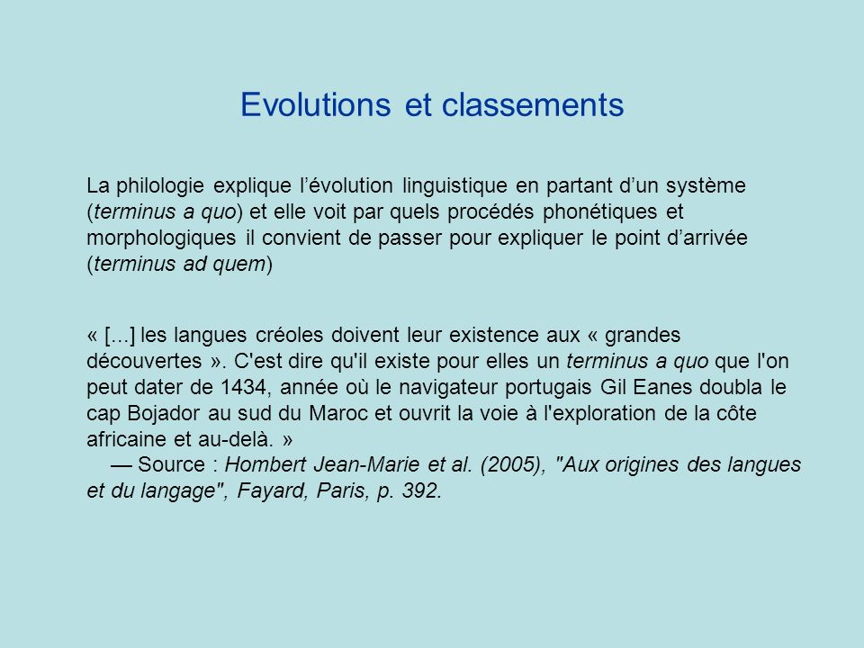 Evolutions et classements