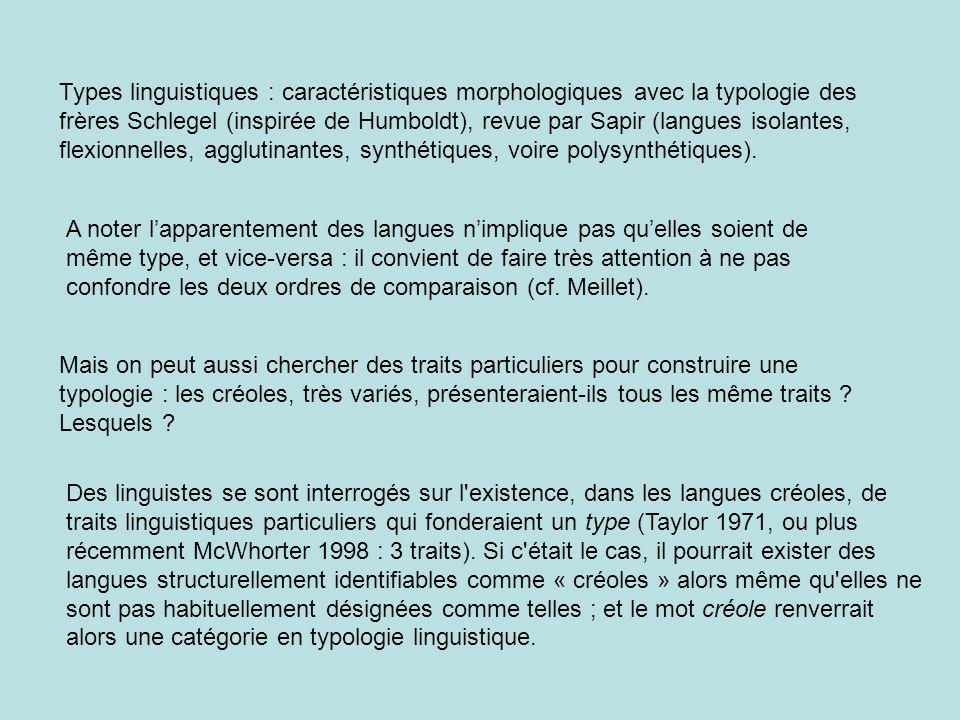 Types linguistiques : caractéristiques morphologiques avec la typologie des frères Schlegel (inspirée de Humboldt), revue par Sapir (langues isolantes, flexionnelles, agglutinantes, synthétiques, voire polysynthétiques).