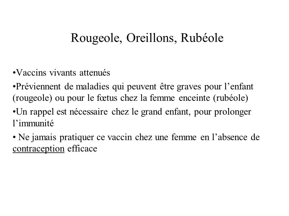 Rougeole, Oreillons, Rubéole