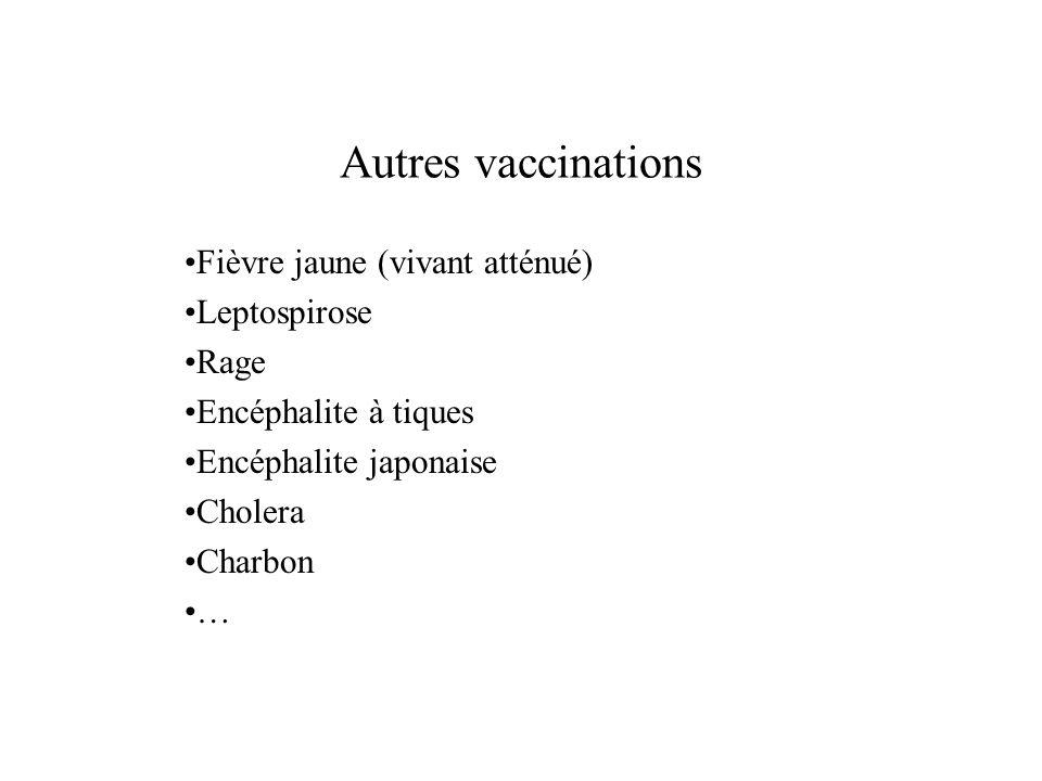 Autres vaccinations Fièvre jaune (vivant atténué) Leptospirose Rage