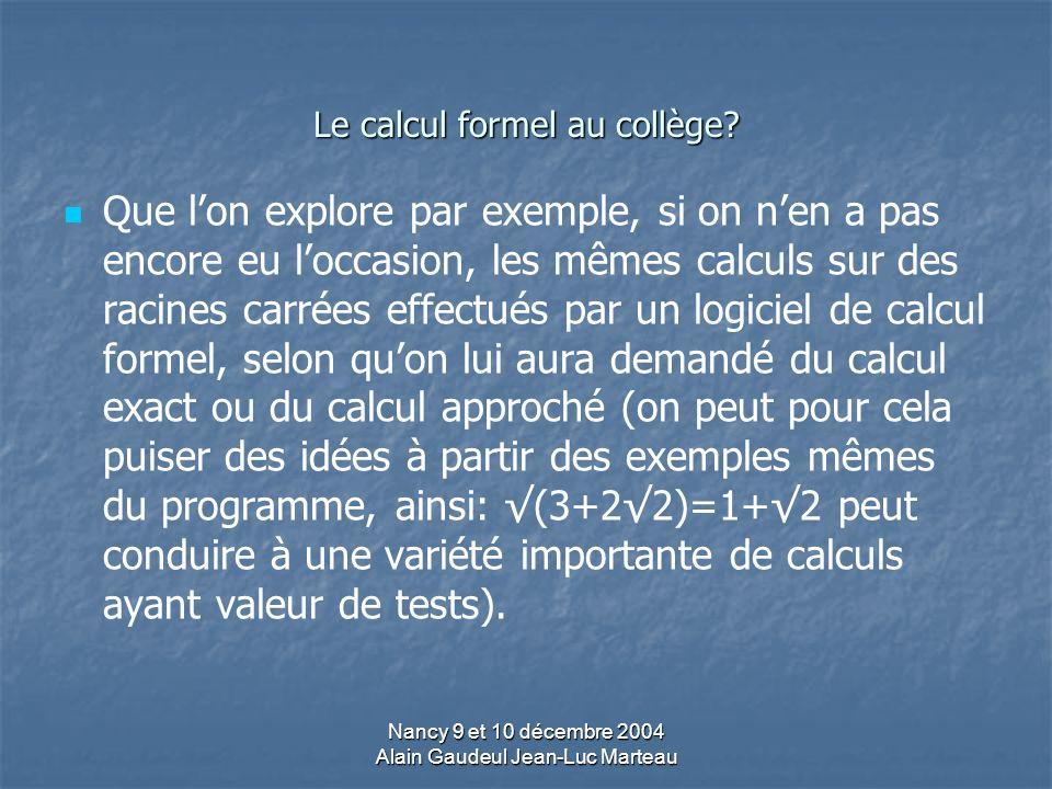 Le calcul formel au collège