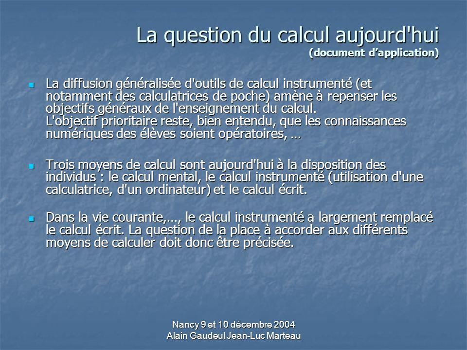La question du calcul aujourd hui (document d'application)