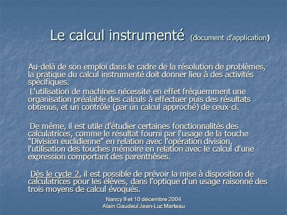 Le calcul instrumenté (document d'application)