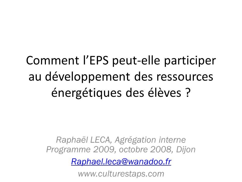 Raphaël LECA, Agrégation interne Programme 2009, octobre 2008, Dijon