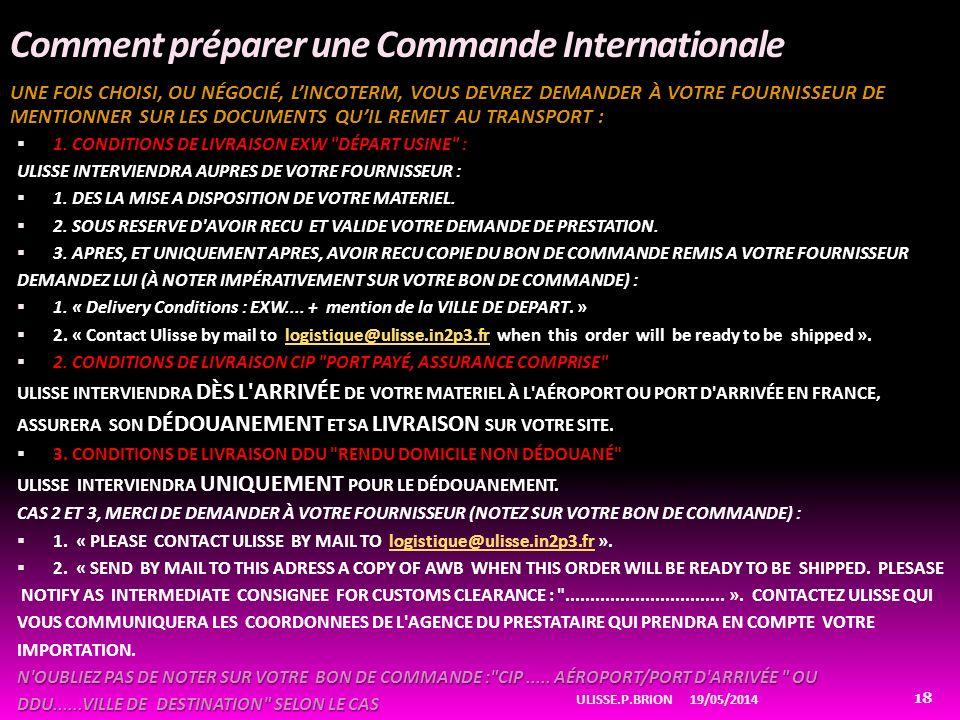 Comment préparer une Commande Internationale