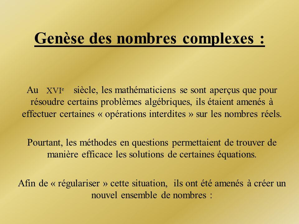Genèse des nombres complexes :