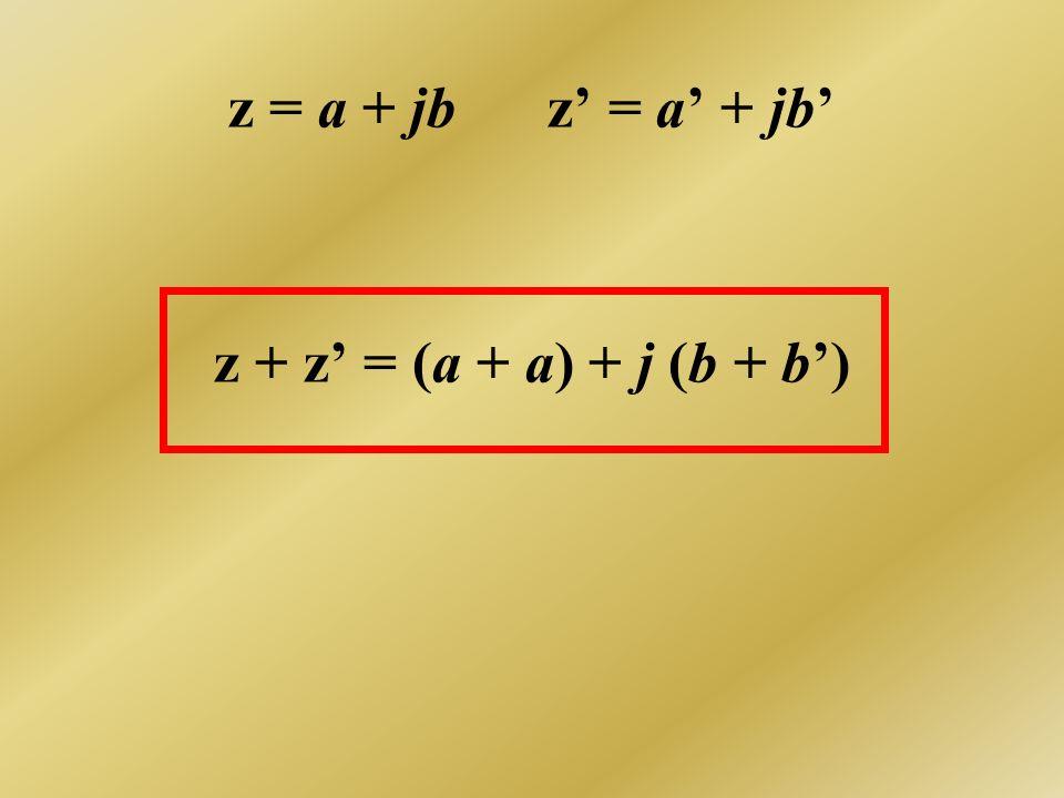 z = a + jb z' = a' + jb' z + z' = (a + a) + j (b + b')