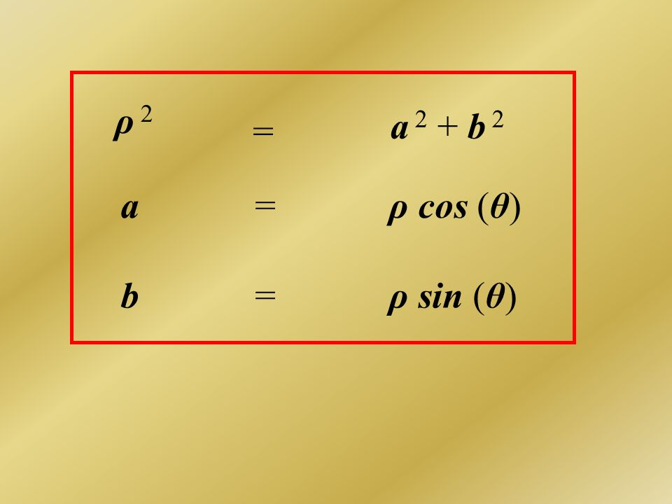 ρ 2 a 2 + b 2 = a = ρ cos (θ) b = ρ sin (θ)