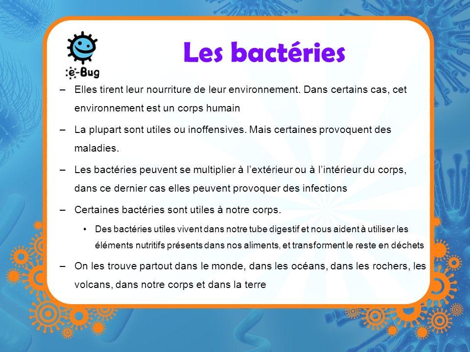 Les bactéries Elles tirent leur nourriture de leur environnement. Dans certains cas, cet environnement est un corps humain.