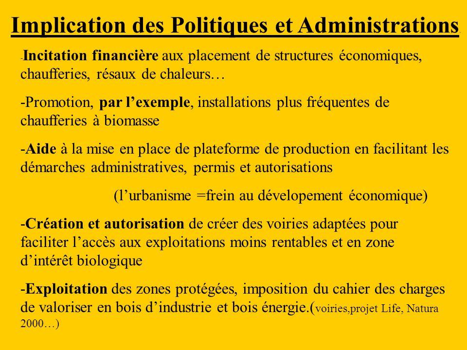 Implication des Politiques et Administrations.
