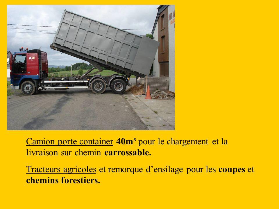 Camion porte container 40m³ pour le chargement et la livraison sur chemin carrossable.