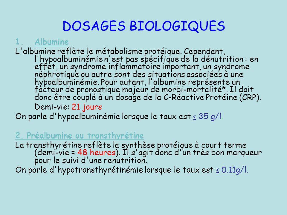 DOSAGES BIOLOGIQUES Albumine