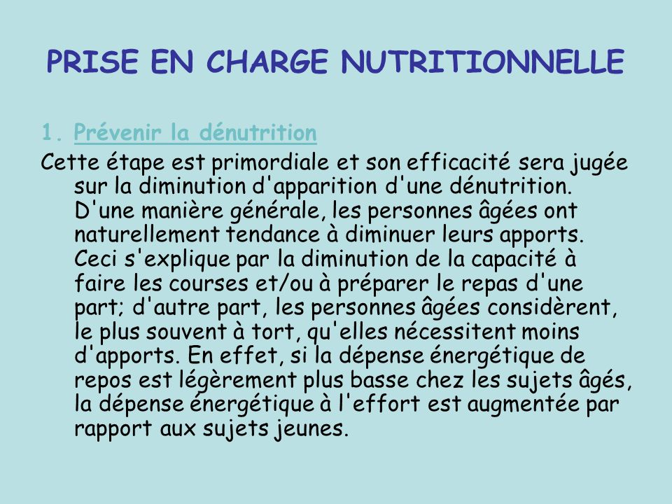 PRISE EN CHARGE NUTRITIONNELLE
