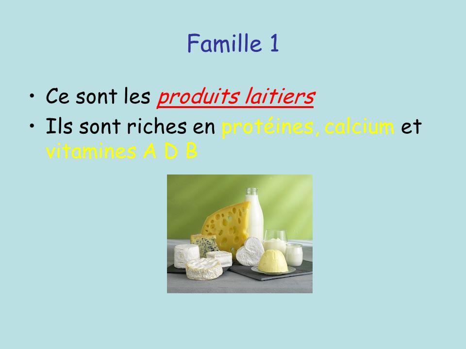 Famille 1 Ce sont les produits laitiers