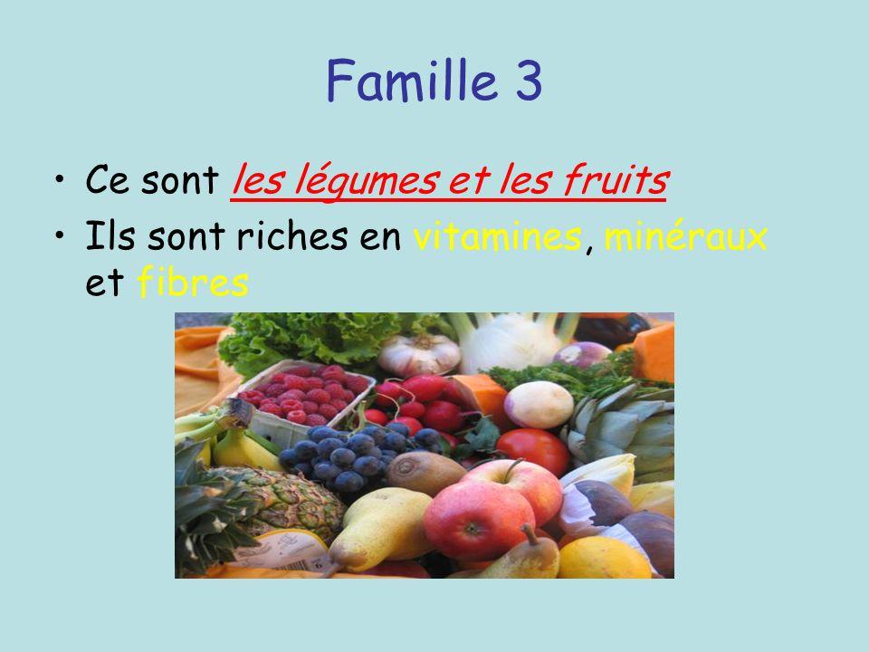 Famille 3 Ce sont les légumes et les fruits