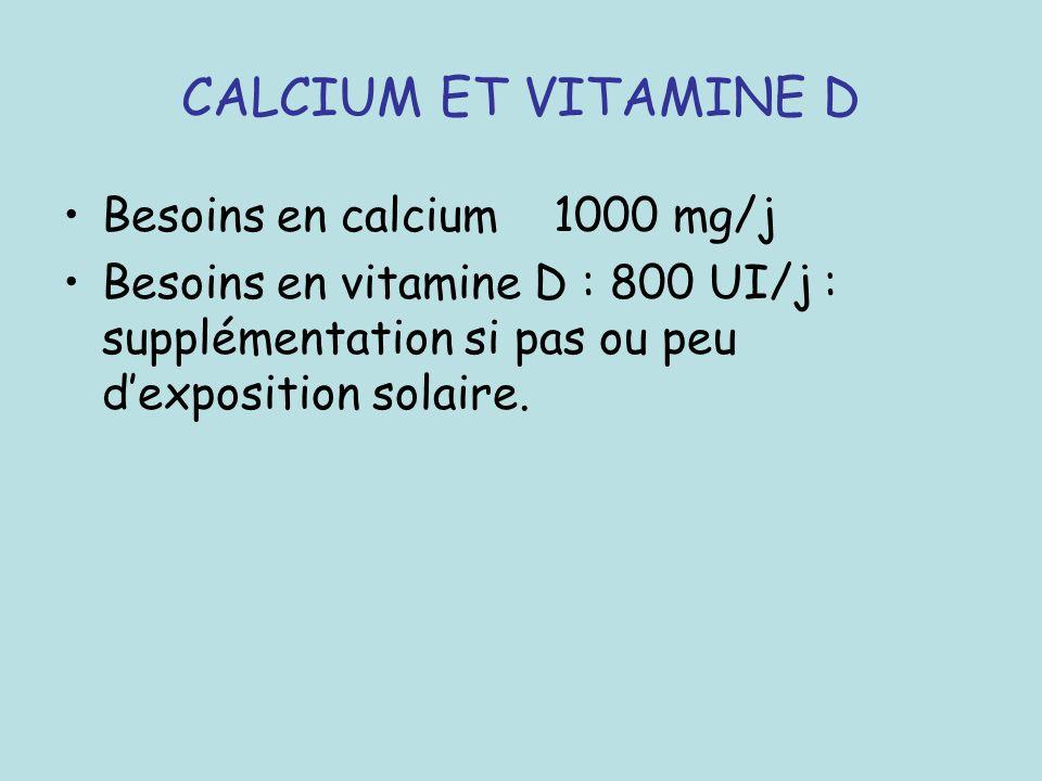 CALCIUM ET VITAMINE D Besoins en calcium 1000 mg/j