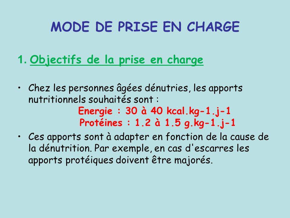 MODE DE PRISE EN CHARGE 1. Objectifs de la prise en charge