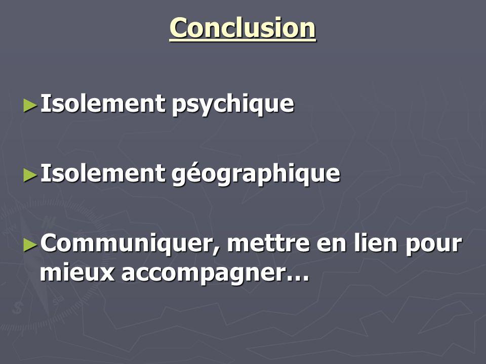 Conclusion Isolement psychique Isolement géographique