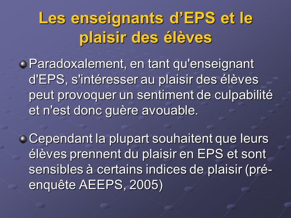 Les enseignants d'EPS et le plaisir des élèves
