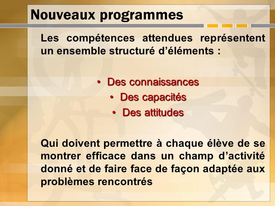 Nouveaux programmes Les compétences attendues représentent un ensemble structuré d'éléments : Des connaissances.