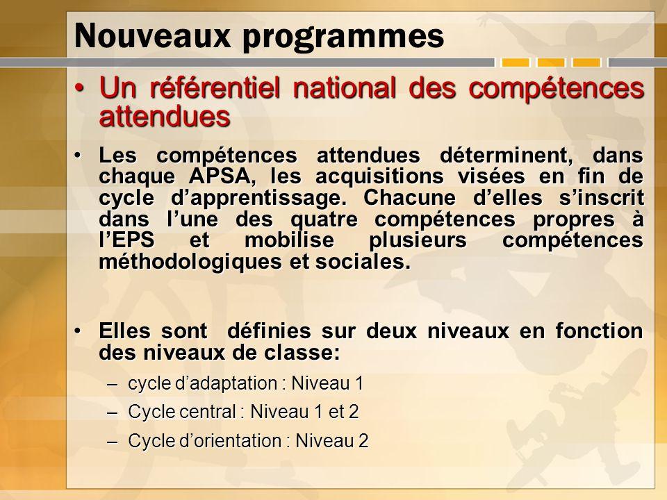 Nouveaux programmes Un référentiel national des compétences attendues