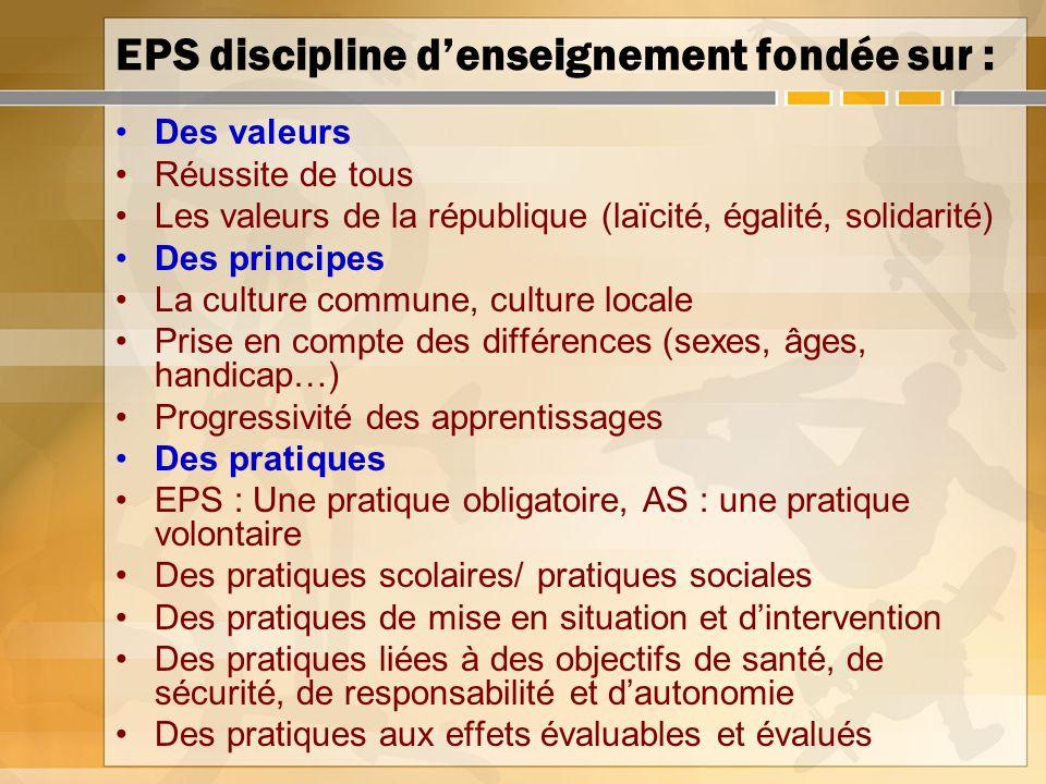 EPS discipline d'enseignement fondée sur :