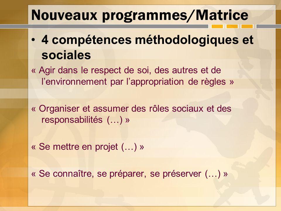 Nouveaux programmes/Matrice