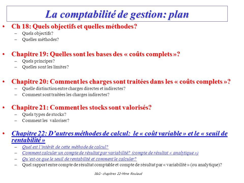 La comptabilité de gestion: plan