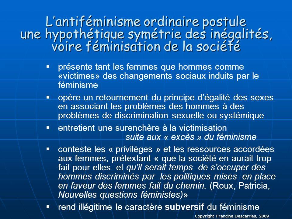 L'antiféminisme ordinaire postule une hypothétique symétrie des inégalités, voire féminisation de la société