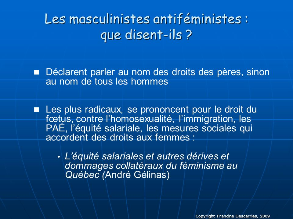 Les masculinistes antiféministes : que disent-ils