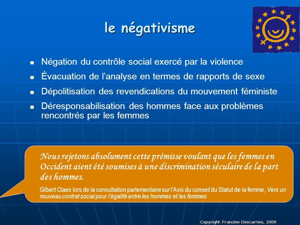 le négativisme Négation du contrôle social exercé par la violence. Évacuation de l'analyse en termes de rapports de sexe.