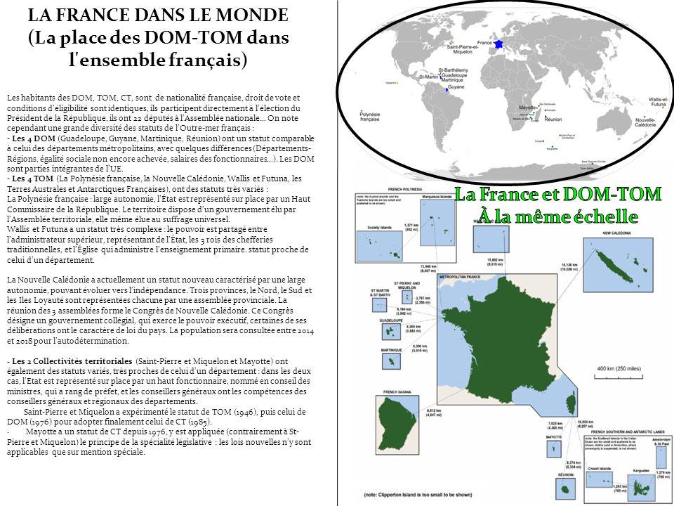LA FRANCE DANS LE MONDE (La place des DOM-TOM dans l ensemble français)