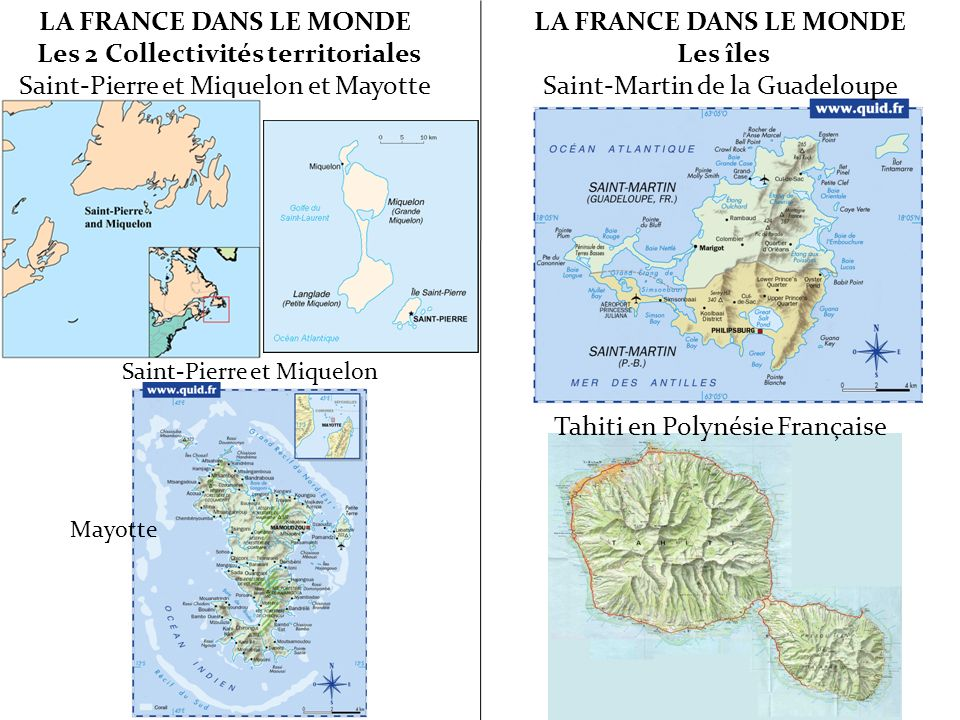 LA FRANCE DANS LE MONDE Les 2 Collectivités territoriales