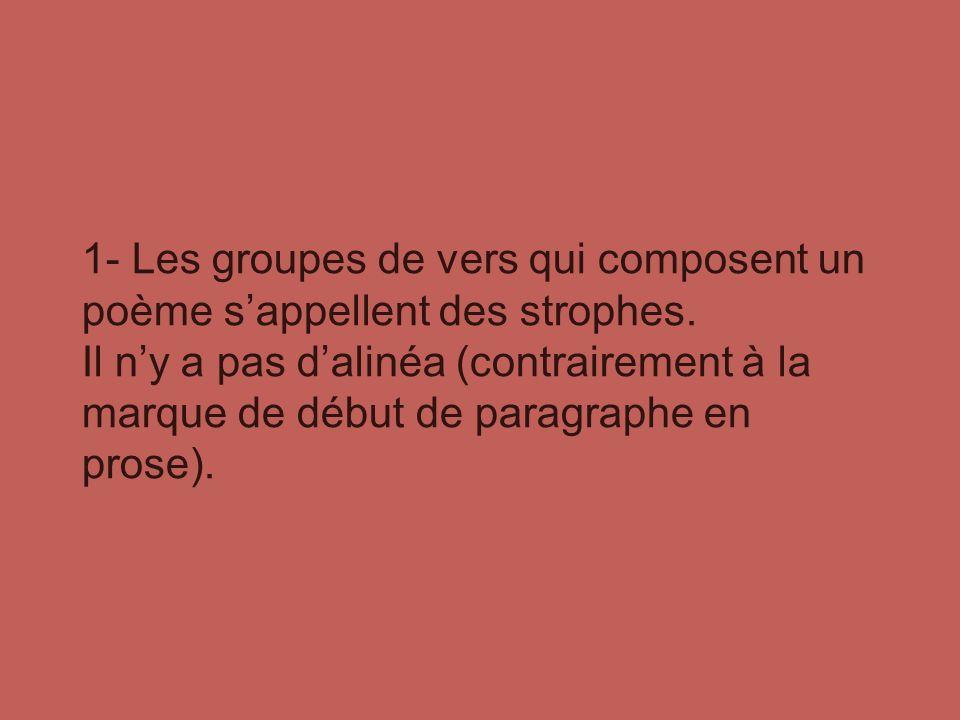 1- Les groupes de vers qui composent un poème s'appellent des strophes.