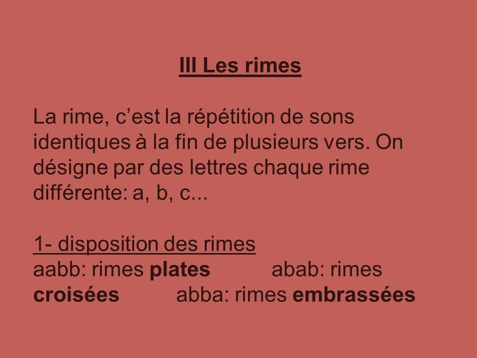 III Les rimes