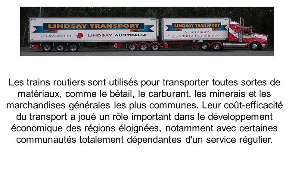 Les trains routiers sont utilisés pour transporter toutes sortes de matériaux, comme le bétail, le carburant, les minerais et les marchandises générales les plus communes.