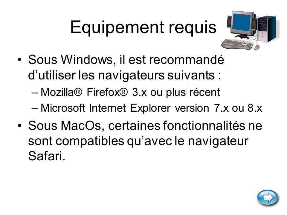 Equipement requis Sous Windows, il est recommandé d'utiliser les navigateurs suivants : Mozilla® Firefox® 3.x ou plus récent.